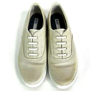 Keds Sneakers Tan Canvas Elastic Lace Up Womens 8